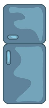 A blue 2 door fridge, vector, color drawing or illustration.