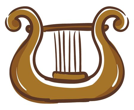 A brown harp musical instrument, vector, color drawing or illustration. Иллюстрация