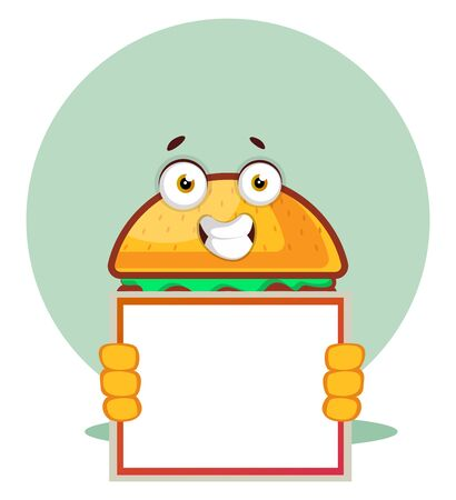 Burger holds a whiteboard, illustration, vector on white background. Archivio Fotografico - 132866725
