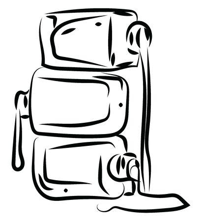 Nail polish sketch, illustration, vector on white background.