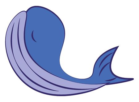 A big whale in blue color, vector, color drawing or illustration.
