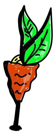 Carrot cocktail, illustration, vector on white background.