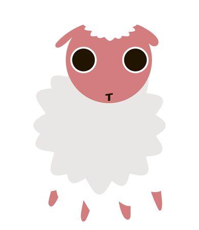 Cute little sheep, illustration, vector on white background. Illustration