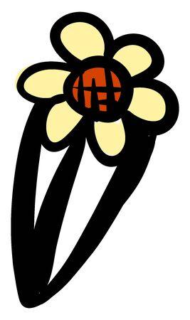 Flower hairpin, illustration, vector on white background. Illusztráció