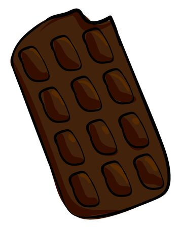 Dark chocolate bar, illustration, vector on white background. Banque d'images - 132781707