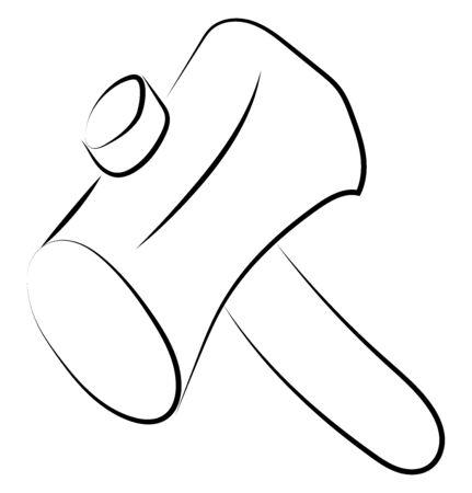 Hammer drawing, illustration, vector on white background. 向量圖像