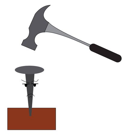 A cartoon of a hammer and a nail, vector, color drawing or illustration. Ilustrace