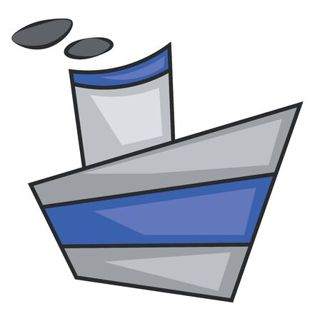 A tiny ship in blue color, vector, color drawing or illustration.