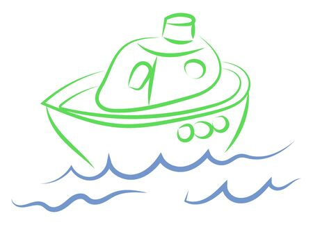 Small boat drawing, illustration, vector on white background.  イラスト・ベクター素材