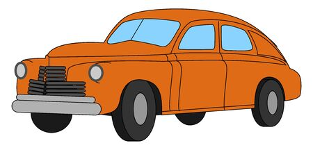 Red retro car, illustration, vector on white background.