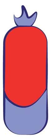 A big strong punching bag in red and blue color, vector, color drawing or illustration.