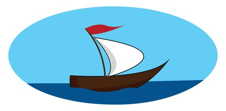 A ship in the middle of a sea, vector, color drawing or illustration.