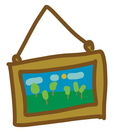 A picture frame hanging from the wall with a natural scenery, vector, color drawing or illustration. Ilustrace