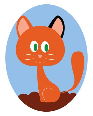 Cute ginger kitty, illustration, vector on white background.
