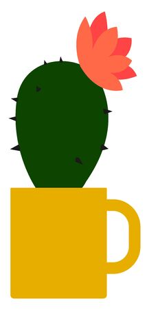 Cactus in yellow cup, illustration, vector on white background