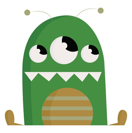 A green 3 eyed monster with a razor sharp teeth, vector, color drawing or illustration.