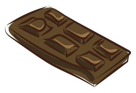 Black chocolate bar, illustration, vector on white background. Banque d'images - 132788502