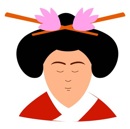 Woman with red kimono, illustration, vector on white background.