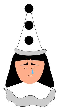 Crying pierrot, illustration, vector on white background. Ilustração