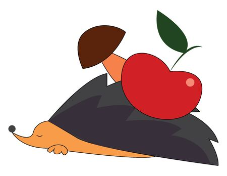 A hedgehog with apple and mushroom at the back, vector, color drawing or illustration. Ilustração