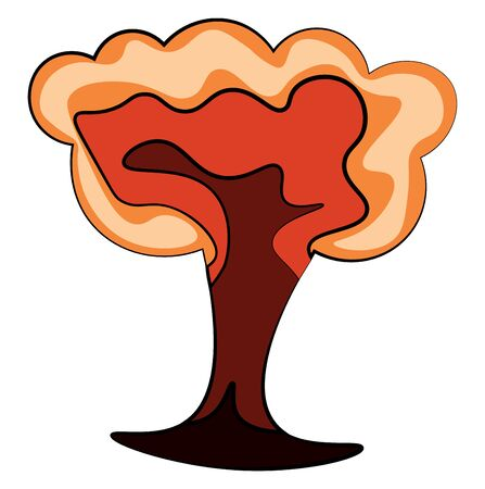 An orange doodle of bomb explosion, vector, color drawing or illustration.