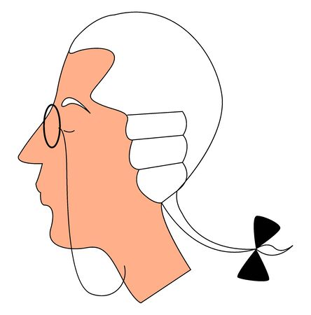 Nobleman with glasses, illustration, vector on white background.