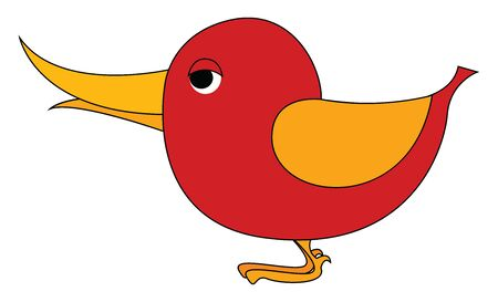 Red small bird with yellow wings, illustration, vector on white background. Stock Illustratie