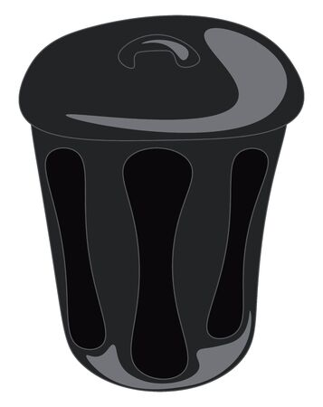 A closed black trashcan, vector, color drawing or illustration.