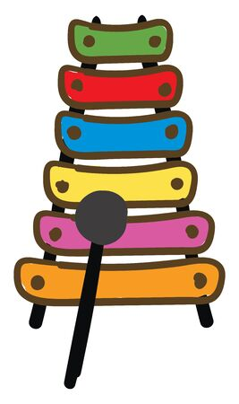 A colorful toy of xylophone musical instrument, vector, color drawing or illustration.  イラスト・ベクター素材