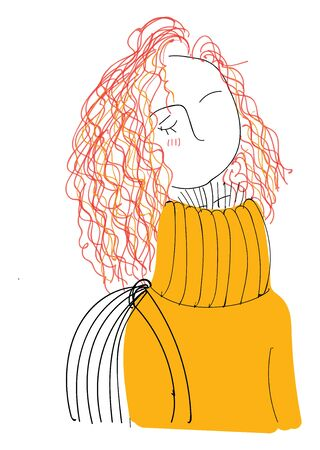 A curly girl in an orange sweater with a bag, vector, color drawing or illustration.