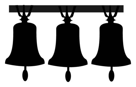 Three bells, illustration, vector on white background.