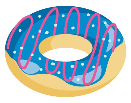 A delicious doughnut with blue cream, vector, color drawing or illustration.