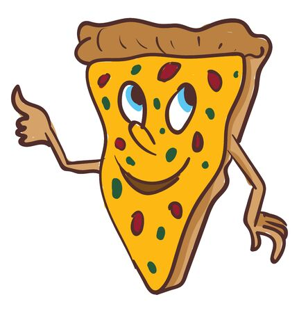 A piece of pizza with a happy face and a thumbs up, vector, color drawing or illustration. Иллюстрация