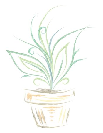 A blue and green silhouette of a plant in a pot, vector, color drawing or illustration.
