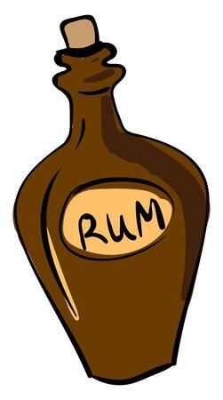 Bottle of rum, illustration, vector on white background.