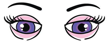 Pretty blue eyes, illustration, vector on white background.