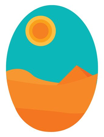 An orange colored desert with a very hot and bright sun, vector, color drawing or illustration. Ilustrace