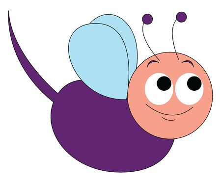 Happy purple mosquito, illustration, vector on white background.