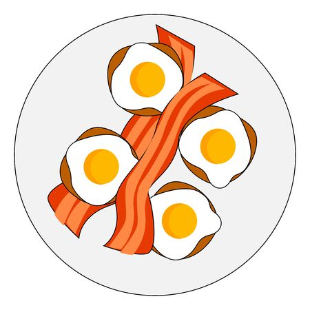 Bacon and eggs, illustration, vector on white background. Иллюстрация
