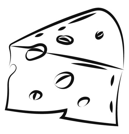 Cheese drawing, illustration, vector on white background. 矢量图像