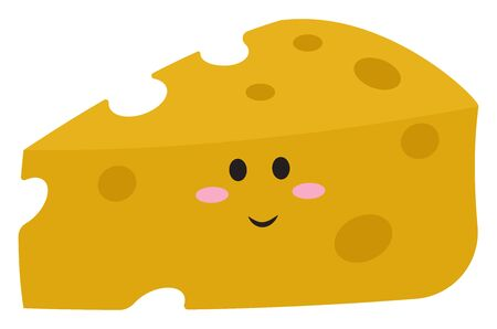 Cute cheese with eyes, illustration, vector on white background. Archivio Fotografico - 132776788