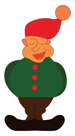 A happy gnome in a green long sleeved over blouse with a brown pants and orange hat, vector, color drawing or illustration.