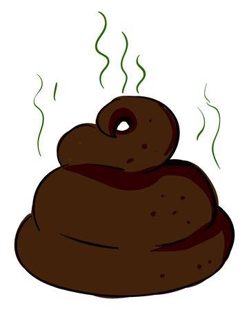 Smelly poop, illustration, vector on white background. Illustration