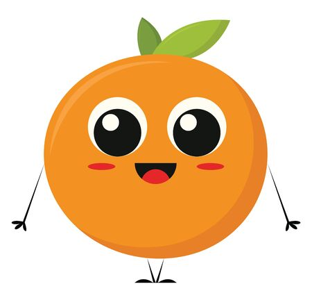 A cartoon of a happy orange with rosy cheeks and a big cute eyes, vector, color drawing or illustration.