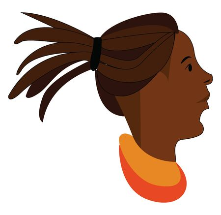 A brown girl with a dreadlocks hair, vector, color drawing or illustration.