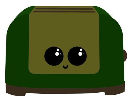 Green toaster with eyes, illustration, vector on white background Ilustracja