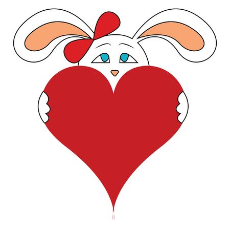 A blue eyed bunny with a red bow holding a red big heart, vector, color drawing or illustration.