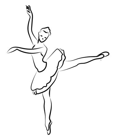 Ballerina silhouette, illustration, vector on white background. Иллюстрация