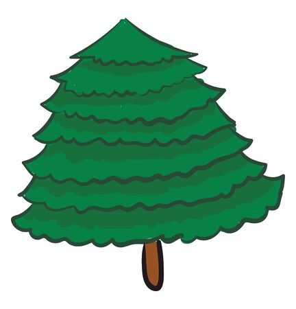 Chubby christmas tree, illustration, vector on white background.