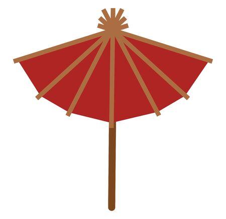 A red wooden Japanese umbrella, vector, color drawing or illustration. Ilustração